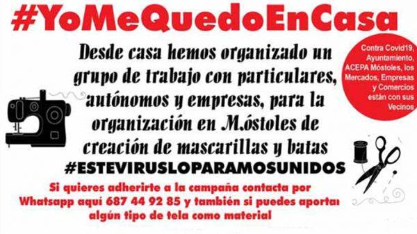 ACEPA Móstoles y la Federación Comerciantes Móstoles recogen material para realizar batas y mascarillas