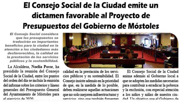 El Consejo Social de la Ciudad emite un dictamen favorable al Proyecto de Presupuestos del Gobierno de Móstoles